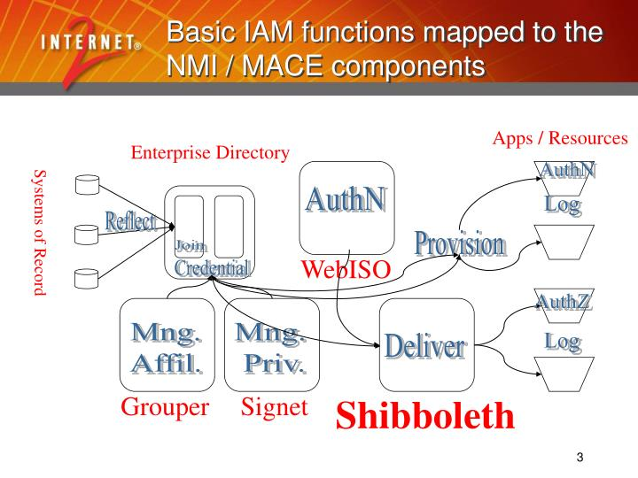 Basic iam functions mapped to the nmi mace components