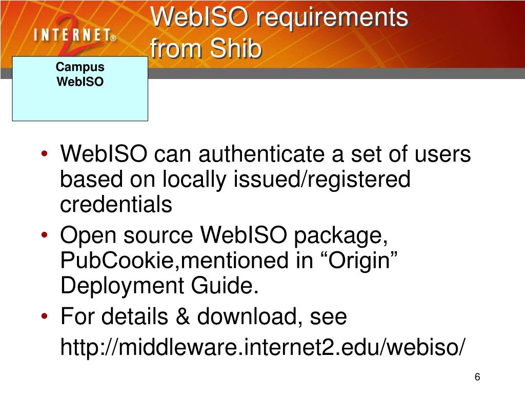 WebISO requirements from Shib