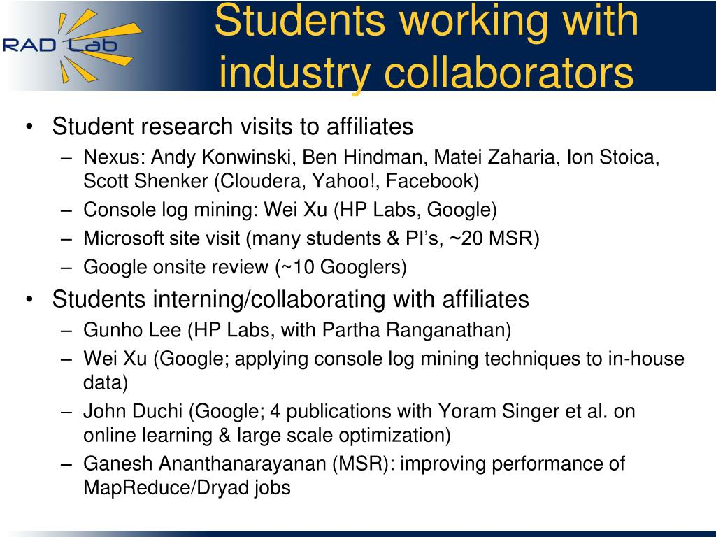 Students working with industry collaborators