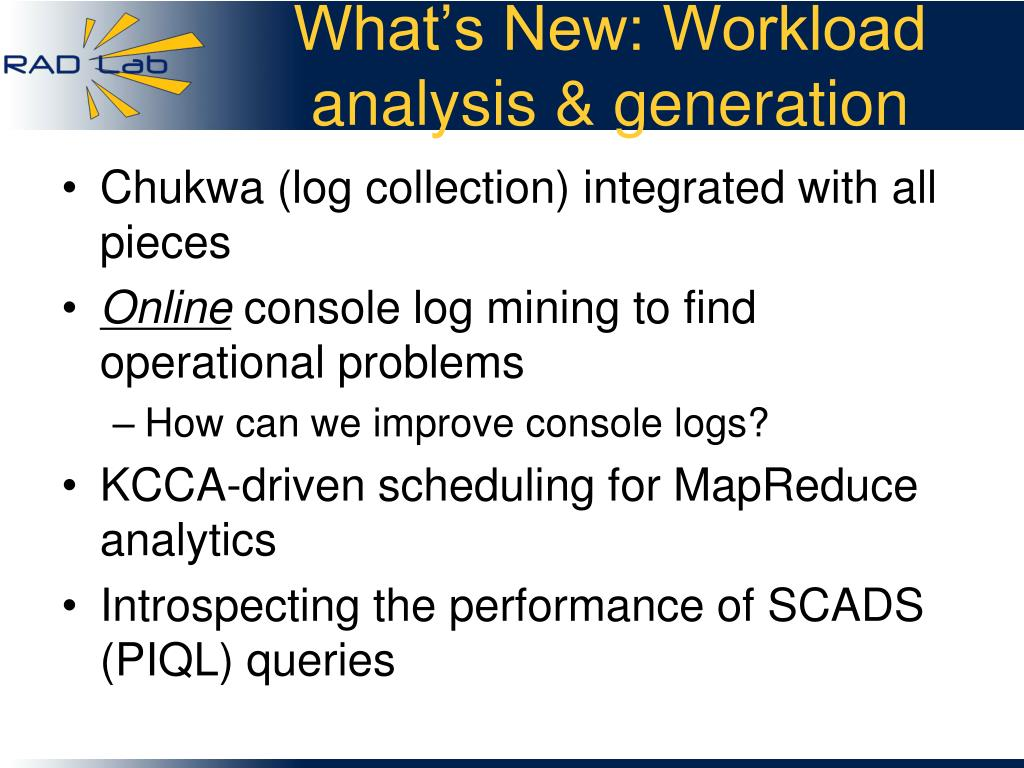What's New: Workload analysis & generation