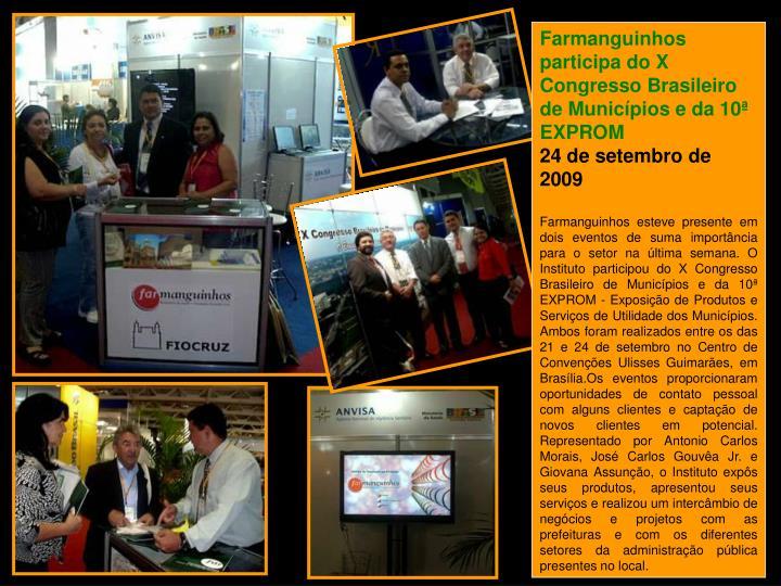 Farmanguinhos participa do X Congresso Brasileiro de Municípios e da 10ª EXPROM