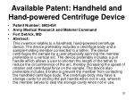 available patent handheld and hand powered centrifuge device