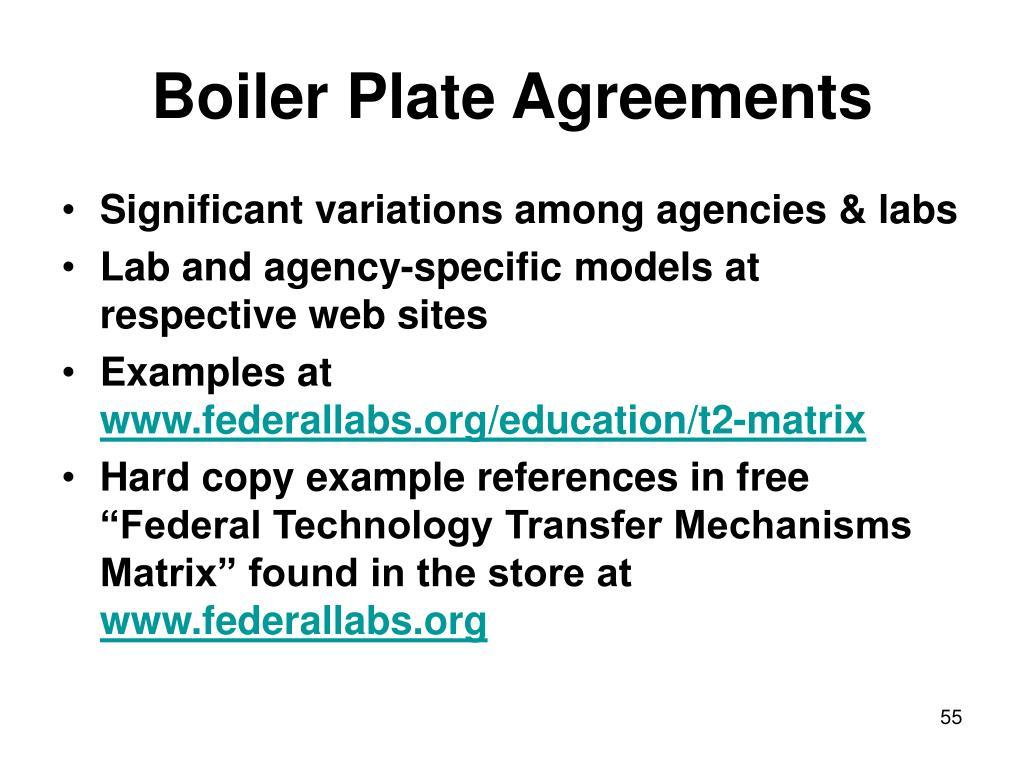 Boiler Plate Agreements