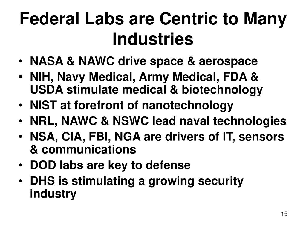 Federal Labs are Centric to Many Industries