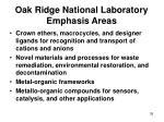 oak ridge national laboratory emphasis areas