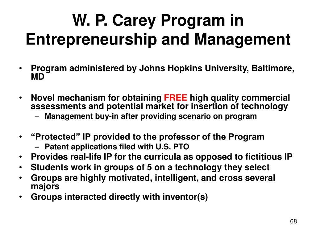 W. P. Carey Program in Entrepreneurship and Management