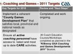 1 coaching and games 2011 targets