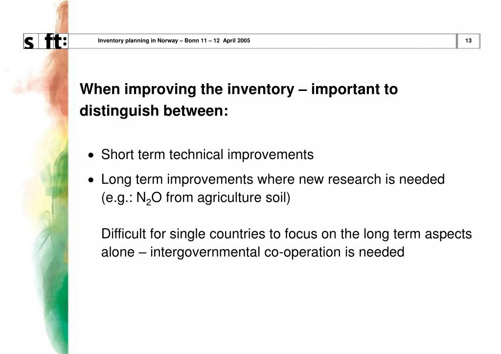 Inventory planning in Norway – Bonn 11 – 12  April 2005