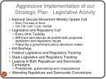 aggressive implementation of our strategic plan legislative activity