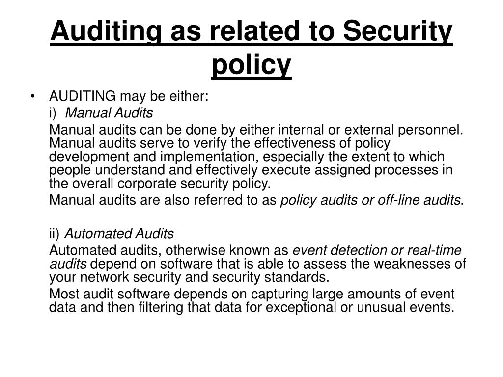 Auditing as related to Security