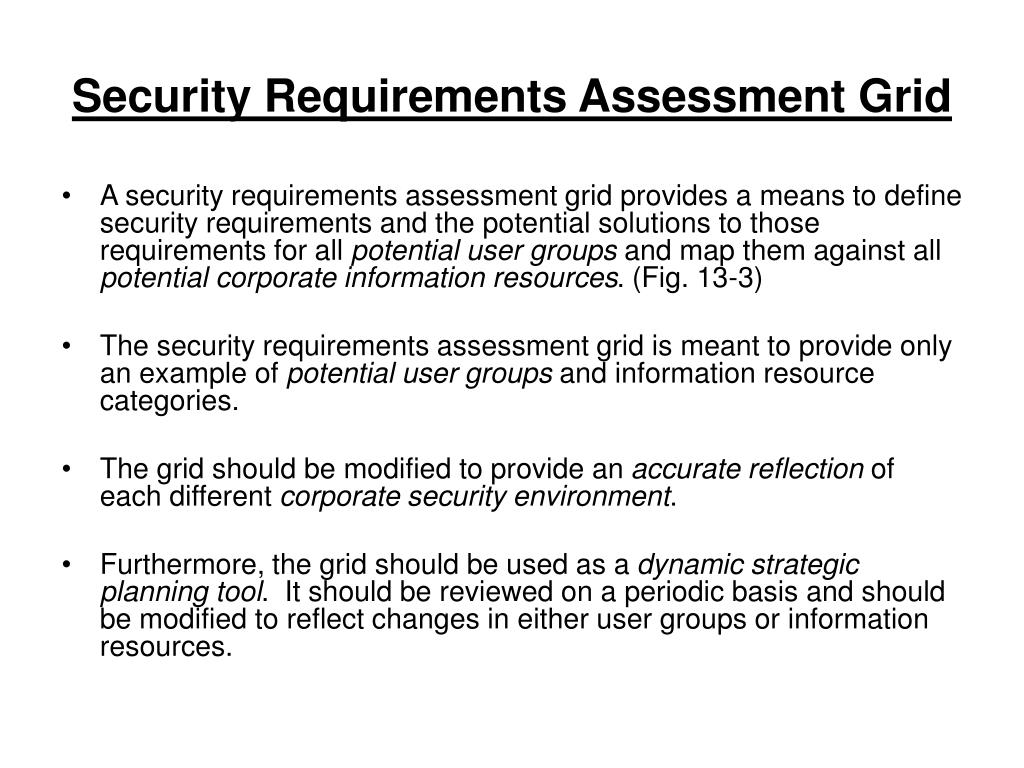 Security Requirements Assessment Grid