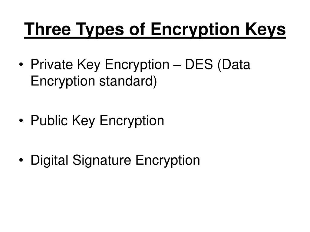 Three Types of Encryption Keys