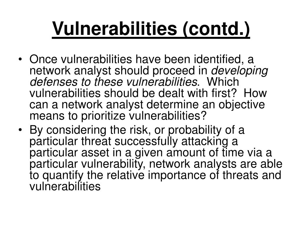 Vulnerabilities (contd.)