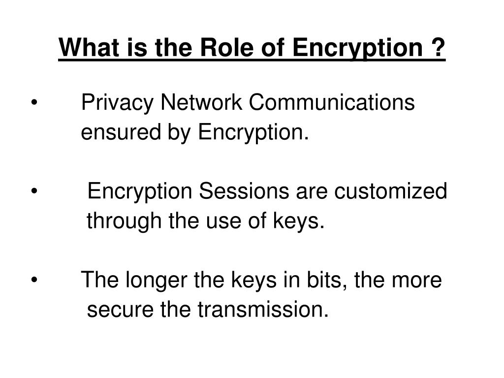 What is the Role of Encryption ?