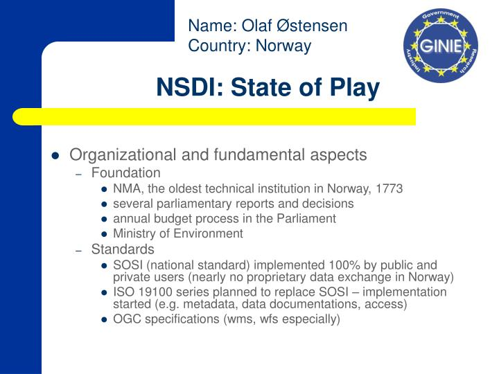 Nsdi state of play