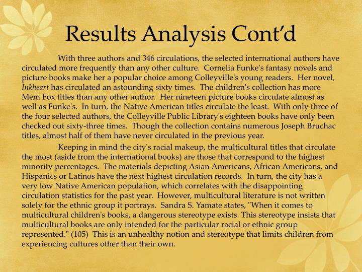 Results Analysis Cont'd