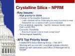 crystalline silica nprm
