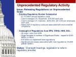 unprecedented regulatory activity
