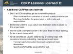 cerp lessons learned ii