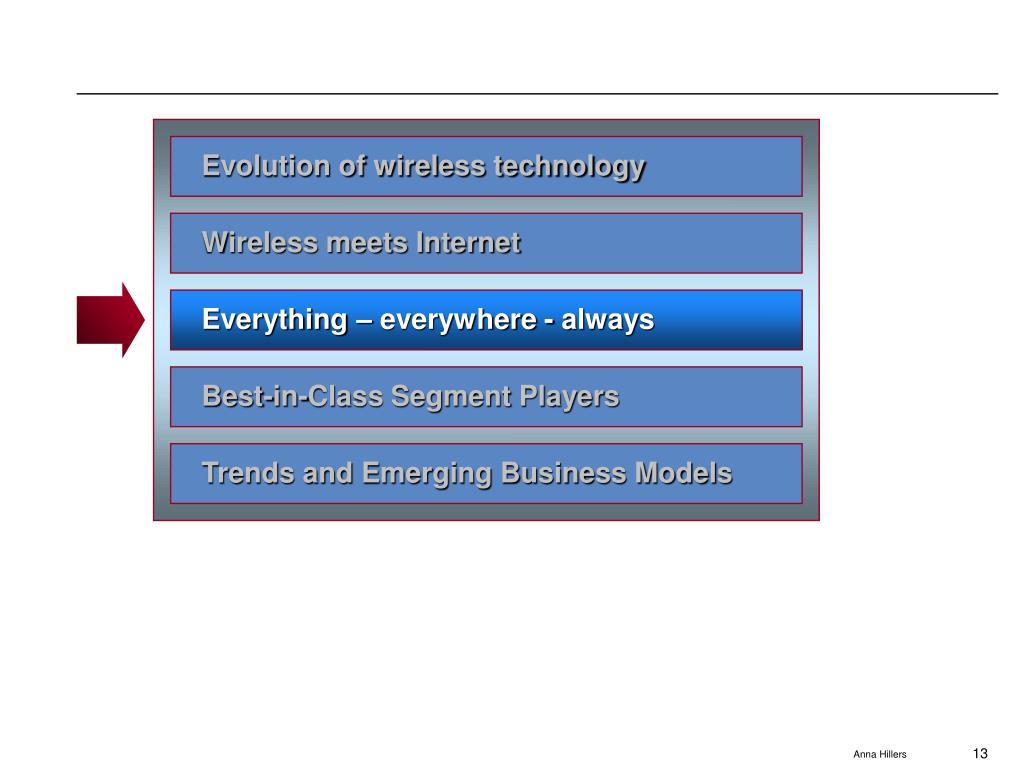 Evolution of wireless technology