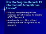 how do program reports fit into the unit accreditation review
