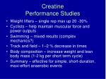 creatine performance studies