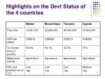 highlights on the devt status of the 4 countries