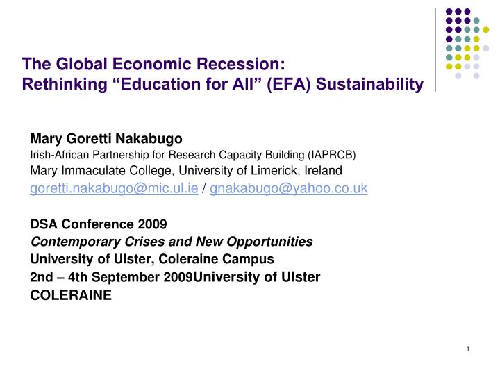 the global economic recession rethinking education for all efa sustainability n.