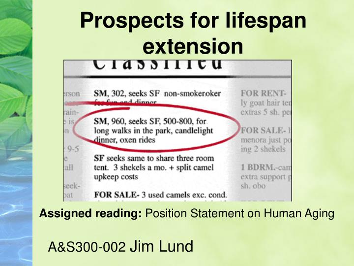 prospects for lifespan extension n.