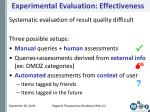 experimental evaluation effectiveness