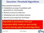 excursion threshold algorithms