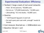 experimental evaluation efficiency