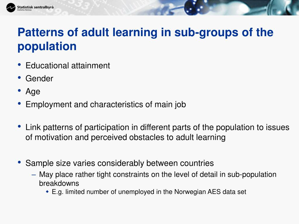 Patterns of adult learning in sub-groups of the population