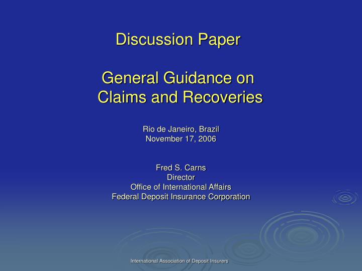 discussion paper general guidance on claims and recoveries n.