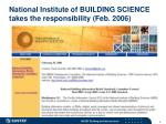 national institute of building science takes the responsibility feb 2006