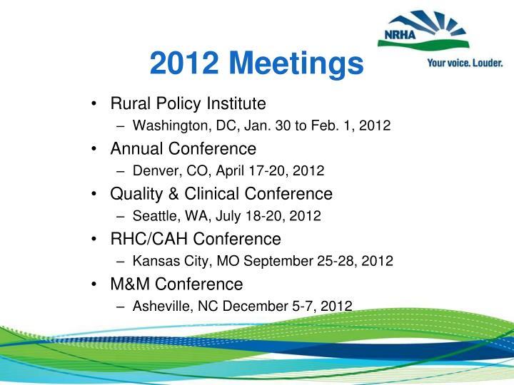2012 Meetings