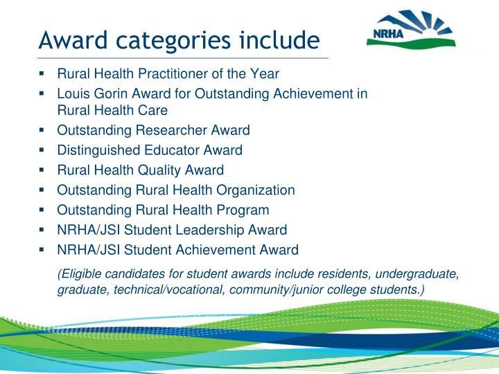 Award categories include
