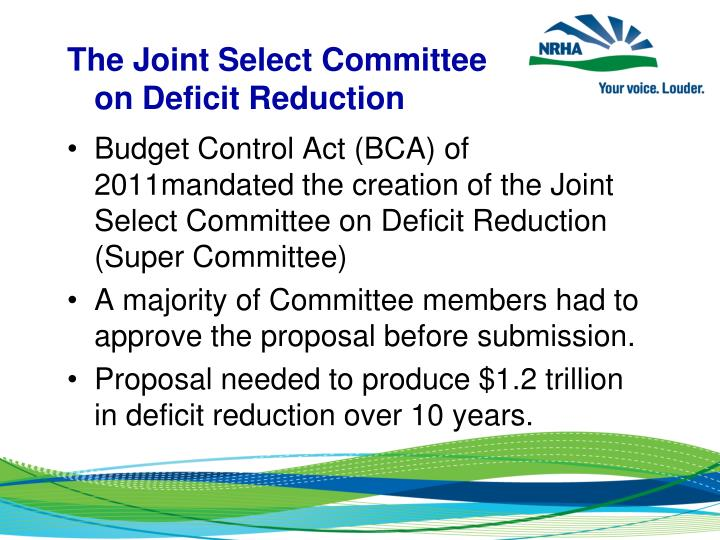 The Joint Select Committee on Deficit Reduction