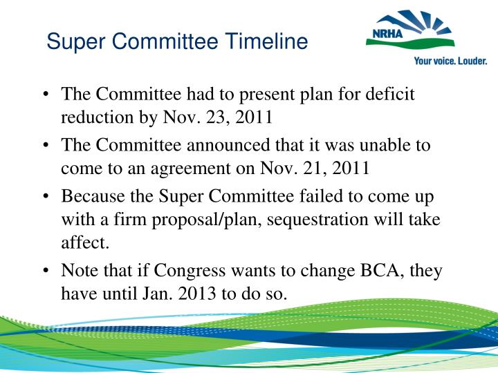 Super Committee Timeline