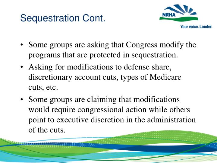 Sequestration Cont.
