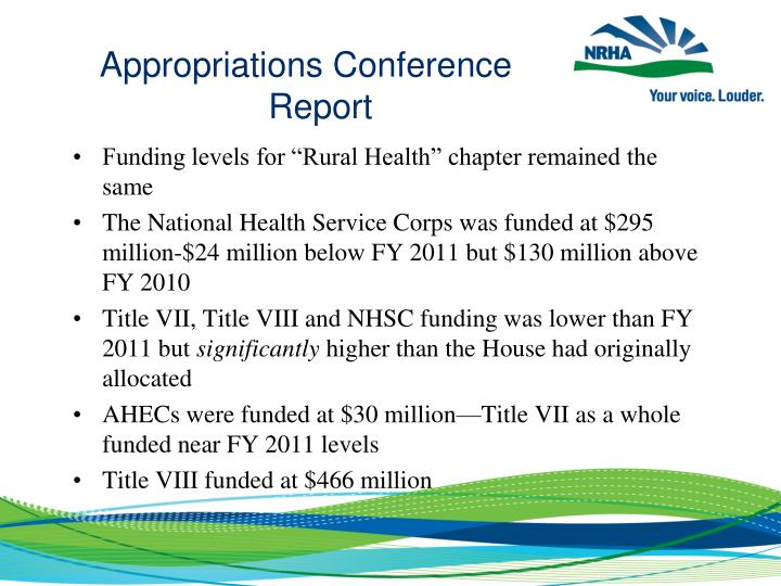 Appropriations Conference Report