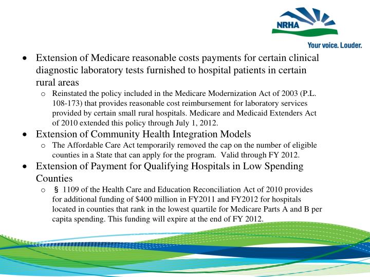Extension of Medicare reasonable costs payments for certain clinical diagnostic laboratory tests furnished to hospital patients in certain rural areas