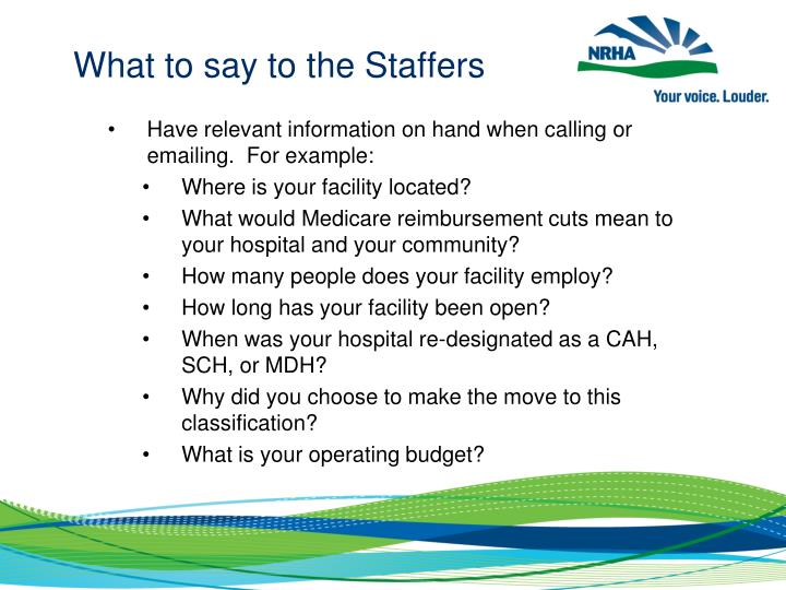 What to say to the Staffers
