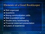 elements of a good bookkeeper