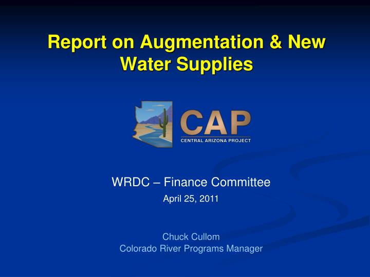 report on augmentation new water supplies n.