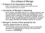 our critique of menger