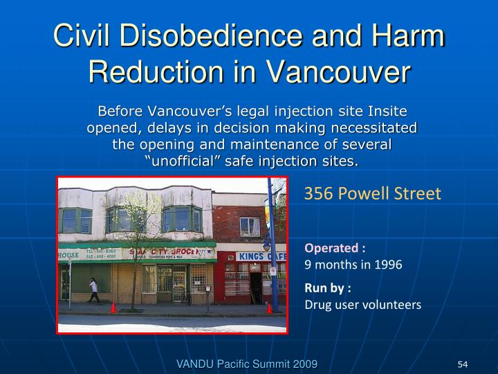 Civil Disobedience and Harm Reduction in Vancouver