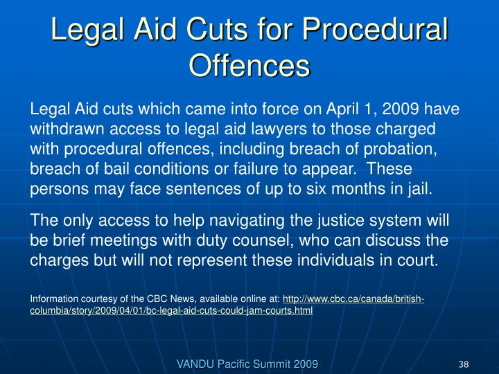 Legal Aid Cuts for Procedural Offences