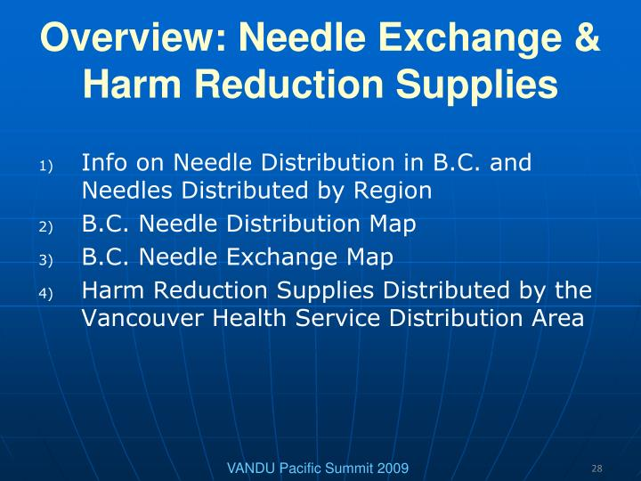 Overview: Needle Exchange & Harm Reduction Supplies