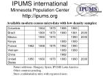 ipums international minnesota population center http ipums org